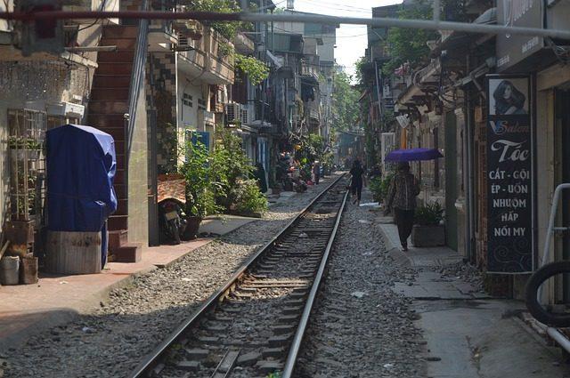 hanoi street train - travel treasures